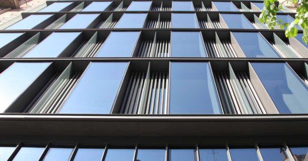 Curtain Wall Facade With Aluminium Profiles And Cuboid Aluminium And Glass Modules