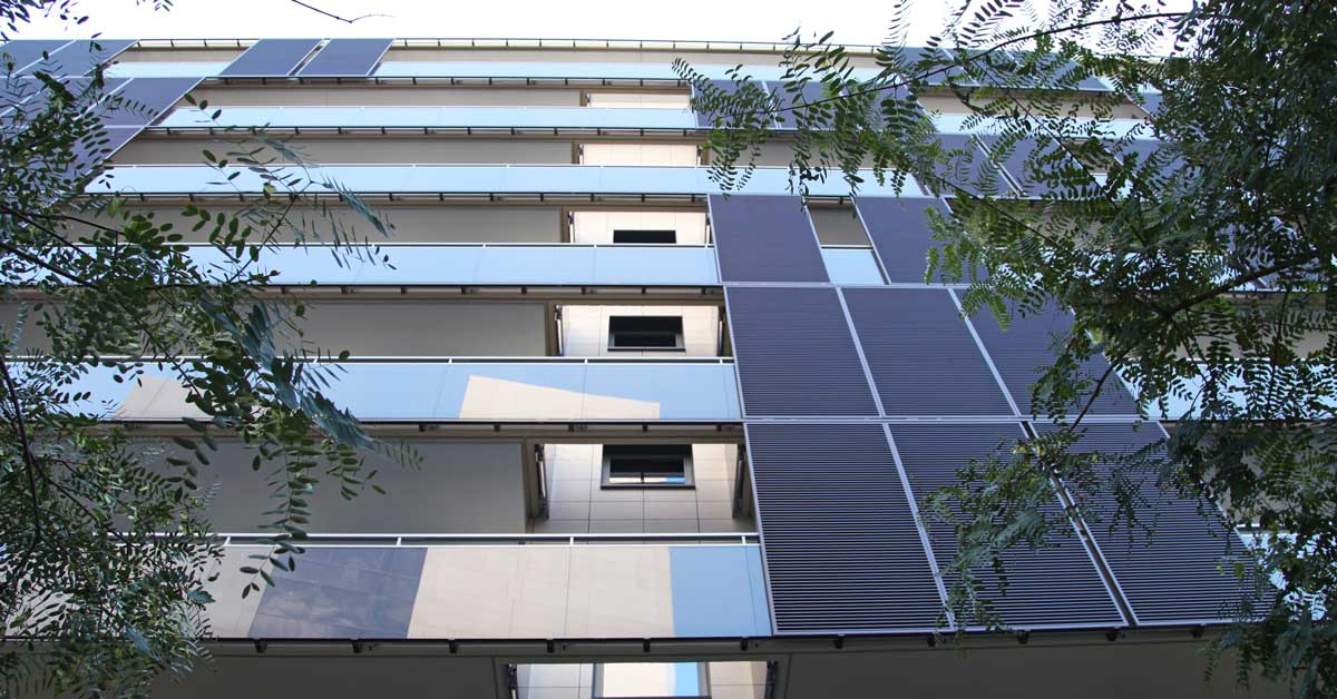 Enclosures in the residential development in Barcelona.