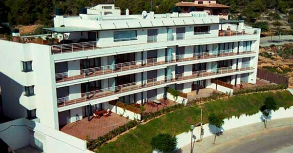 Set Of Aluminium And Glass Joinery Works In An Apartment Block In Sitges