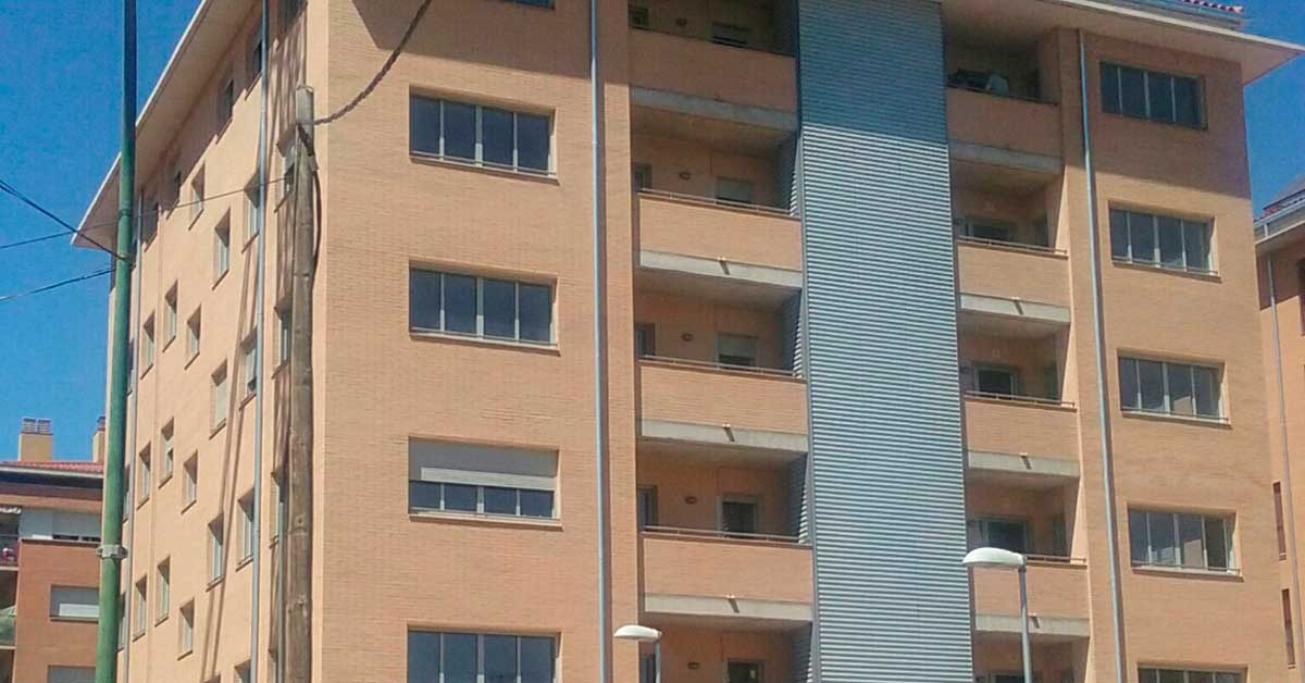 Enclosures in a 23-residence public housing block in Sabadell