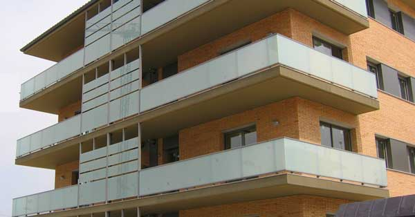 Interior and exterior enclosures for the set of residences in the residential block