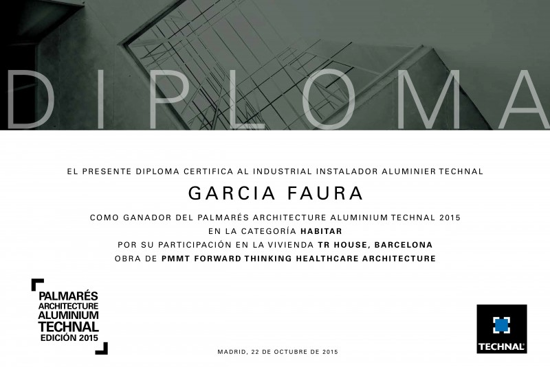 Premi Palmarés Technal Per A Una Obra De GARCIA FAURA