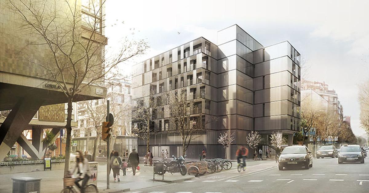 Cerramientos de aluminio y vidrio para promoción de vivienda dotacional y guardería pública en Barcelona