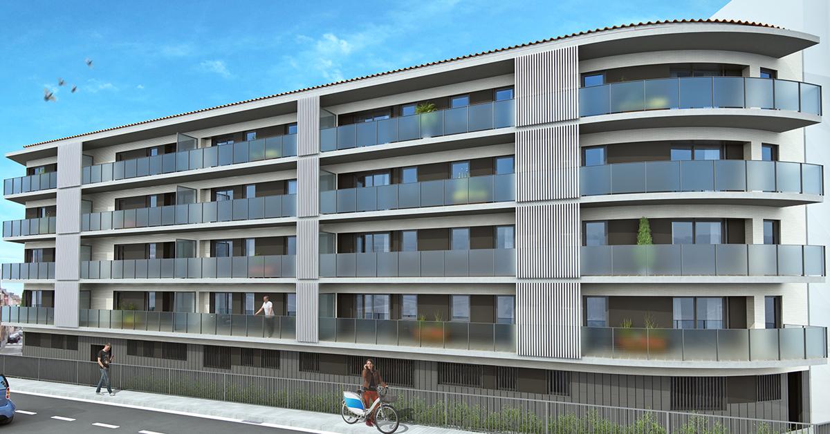 Tancaments d'alumini i vidre per a nova promoció d'habitatges a Gavà