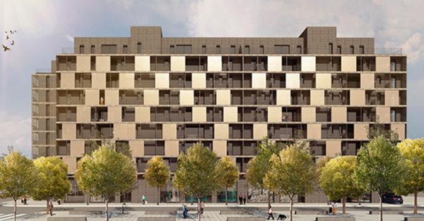 Tancaments D'alumini I Treballs En Façana Per A Una De Les Fases D'execució Del Nou Projecte Residencial Marina Park A L'Hospitalet De Llobregat).