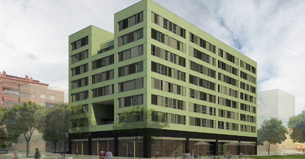 ancaments de vidre i alumini per a habitatge de promoció pública a Sant Boi de Llobregat