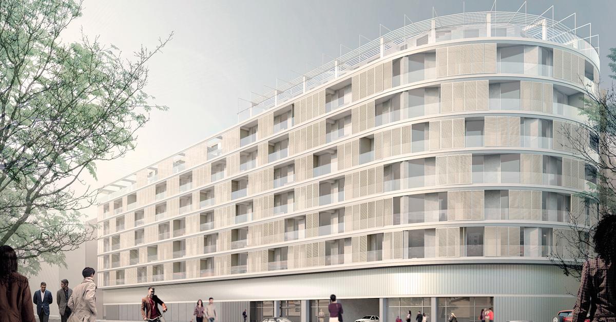 Treballs de façanes i tancaments per a reconvertir un antic edifici d'ús no residencial en un nou bloc de 130 habitatges